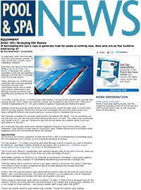 Pool & Spa News - Solar 101: Grasping the Basics - December 2010