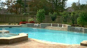 Custom Inground Residential Swimming Pool with multiple fountains
