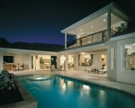 Luxury Residential Pool & spa lit at night