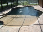 Custom Residential Pool with Beach Entry and two tone pebble finish