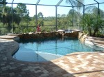 Custom Residential Pool & Spa with Rock Wall