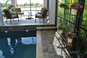 Raised deck with required white handholds diamond accent tiles