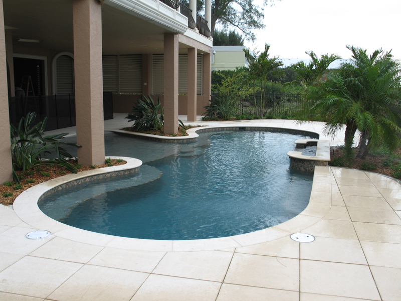 Custom residential pool with beach entry elite weiler pools for Residential pools
