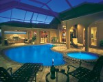Luxury Residential Pool & Spa with lights at night