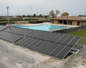 commercial swimming pool with solar heating system