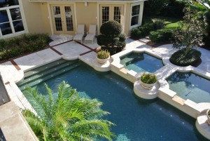 Elite Weiler Pools of Sarasota - Pool Builders - Dual spa with fountain