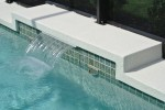 Sheer Descent fountain with tile wrapped beam textured deck