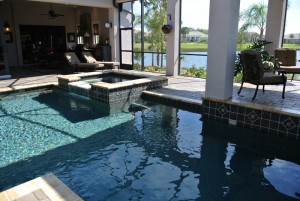 Elite Weiler Pools of Sarasota - Square spa with oversized spillway