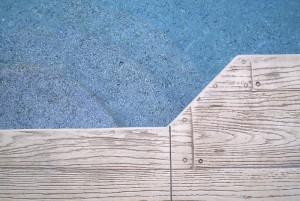 Stamped concrete deck wood look